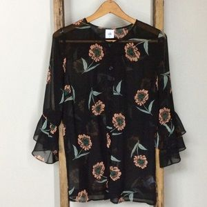 EUC Cabi Sheer Dark Floral Bell Sleeve Button Up